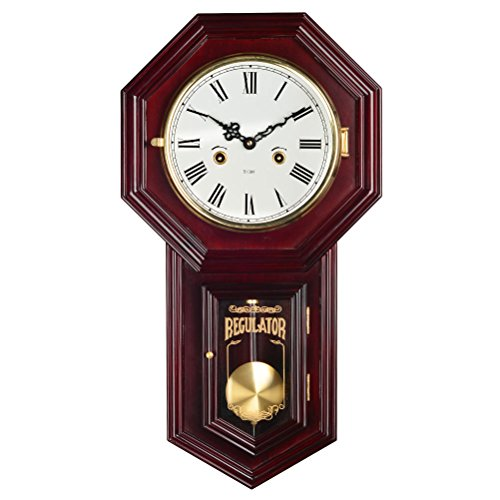 HENSE Chiming Regulator Mechanical Wind-Up Clocks Wall Clock with Swinging Pendulum,Color-Mahogany HP31 (#A)