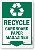 "SmartSign by Lyle S2-0372-PL-07x10-RR ""Recycle - Cardboard Paper Magazines"" Recycled Plastic Sign"