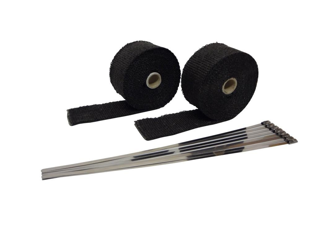 25 Feet With Ties, Black JC Performance Two Roll Pack 1 W Fiberglass Exhaust Header /& Pipe Wrap