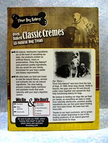 Three Dog Bakery Classic Creme Golden With Peanut Butter Filling, Baked Dog Treats, 16-Ounce