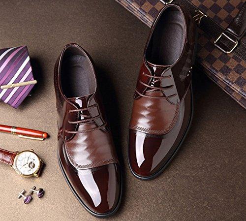 Cuir Chaussures en D'affaires en Costumes Hommes pour Brown LEDLFIE Chaussures Cuir Lacets ZwR6vq