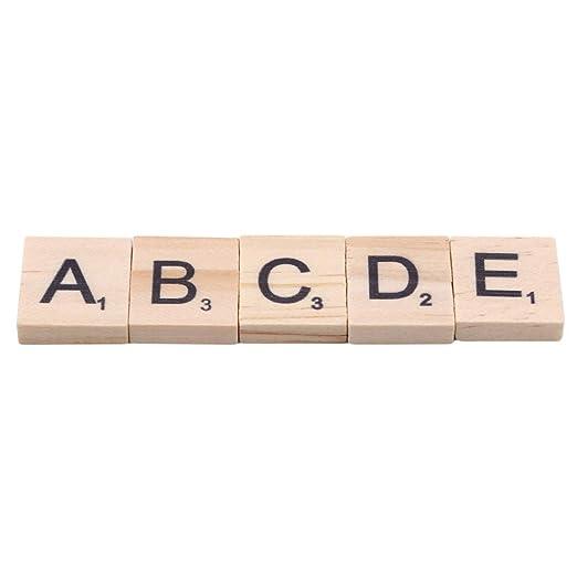 set Holzbuchstaben Alphabet Scrabble Buchstaben Zahlen f/ür Kunsthandwerk VWH 100pcs