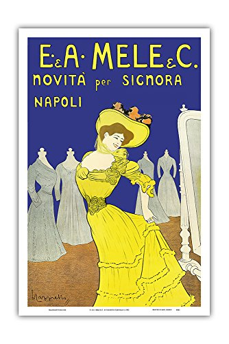 Emiddio and Alfred Mele Clothing Company - New to Naples, Italy (Novità Per Signora Napoli) - Vintage Advertising Poster by Leonetto Cappiello c.1902 - Master Art Print - 12in x 18in