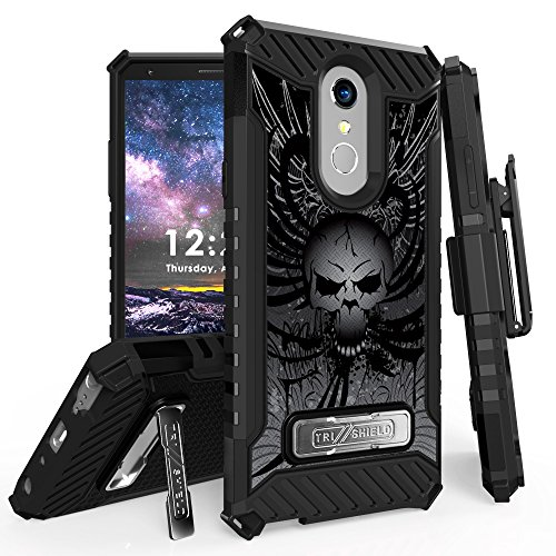 for 6.2'' LG Stylo 4 Case, LG Q Stylus Case Holster Phone Case 12ft Military Grade Drop Tested Belt Clip Kick stand Hybrid Armor Cover (Skull) by 6goodeals
