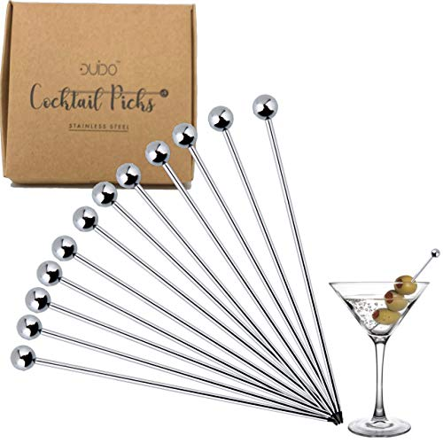 (Cocktail Picks Stainless Steel Toothpicks - (4 & 8 inch) 12 Pack Martini Picks Reusable Fancy Metal Drink Skewers Garnish Swords Sticks for Martini Olives Appetizers Bloody Mary Brandied (4 inches))