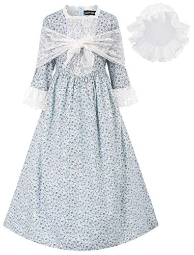 Colonial Girls Dresses 19ths Prairie Pioneer Pilgrim Costume Blue Size 8Y
