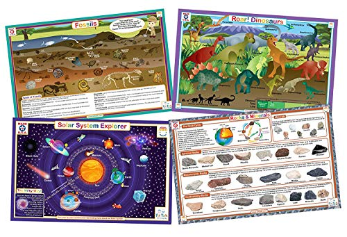 (Tot Talk Educational Kids Placemats - STEM - Science Set of 4 Table Mats: Solar System, Dinosaurs, Rocks, Fossils - Reversible Activities - Waterproof, Washable, Wipeable, Durable, USA-Made)