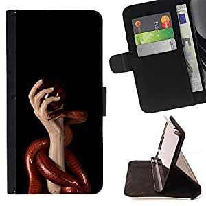 For Samsung Galaxy S4 IV I9500 Red Snake & Hand Leather Foilo Wallet Cover Case with Magnetic Closure