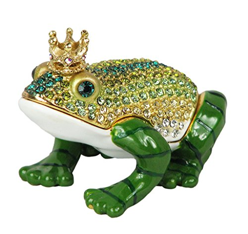 Frog Trinket Box Swarovski Crystals (Lovely Rucinni Frog With Crown Swarovski Crystal Trinket Box)