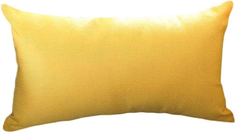 Monbedos - Funda de cojín de lino y algodón, 30 x 50 cm, diseño rectangular, color liso, Lino algodón, Amarillo, 30 x 50 Centimeters: Amazon.es: Hogar