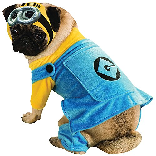 [Despicable Me Minion Doggie Halloween Costume With Jumpsuit And Headpiece] (Grus Dog Costume)