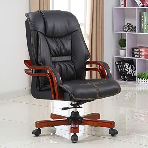 PHTW Mode lunchpaus kontorsstol, äkta läder fritid datorstol med dubbla lager massiva träarmstöd för chef handledare chef