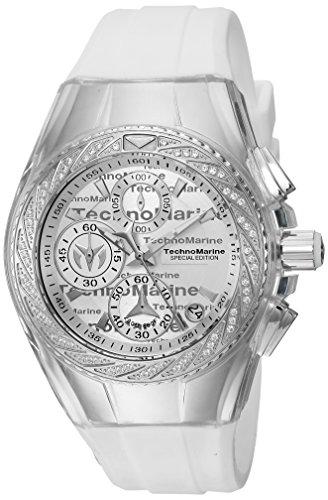 Technomarine Women's Cruise Stainless Steel Quartz Watch with Silicone Strap, White, 19 (Model: TM-115383