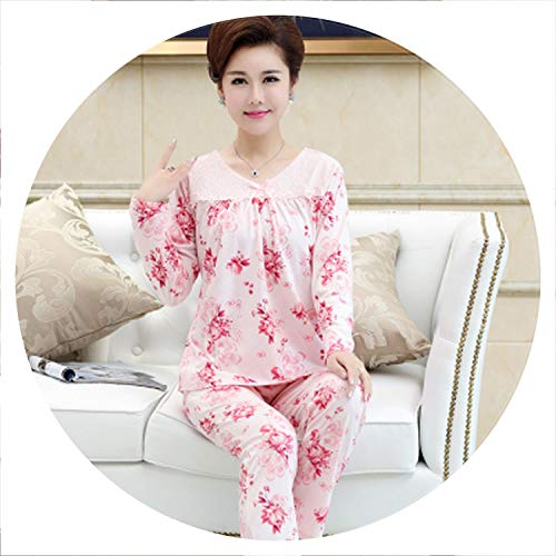 100Expectations Mom Pyjamas Cotton O-Neck Long Sleeve Full Trousers Lady Two Piece Women Thin Pajama Set,Color 22,XXL