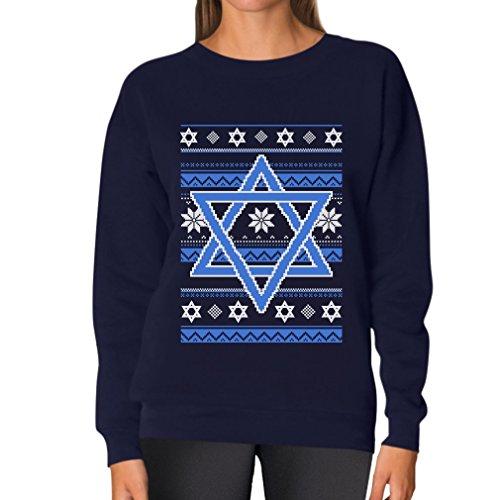 Tstars TeeStars - Happy Hanukkah Ugly Holiday Sweater Star Of David Women Sweatshirt Small - Sweater Maternity Holiday