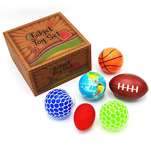 (6 Pack Stress Ball, Hand Grip Strength Trainer Assorted Stress Relief Toys for Kids and Adults, Non-Toxic and Tear-Resistant Stress Balls, Best Hand Therapy for ADHD and Anxiety – Fidget and Sensory)