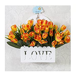 LuckySHD Artificial Tulip Fake Flowers with Hanging Basket for Decoration 10