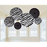 Amscan Wild Zebra Print Hanging Fan Assortment (6 Piece), Black/White