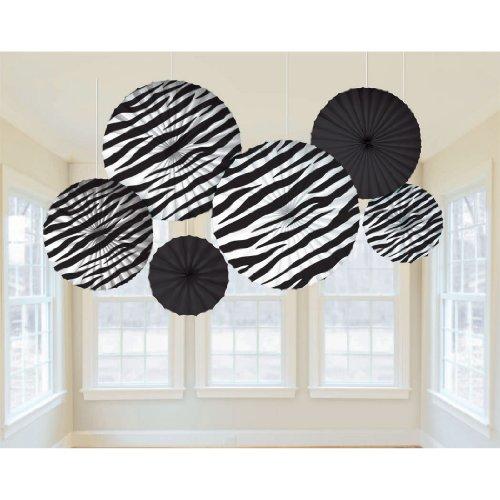 Zebra Stripes Printed Paper Fans | Party