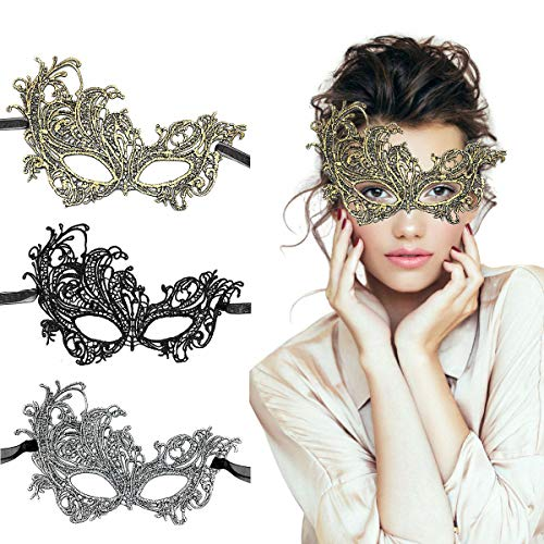 TreatMe Masquerade Mask - 3 Pack Women Venetian Mask Pretty Elegant Lady Lace Masquerade Halloween Mardi Gras Party