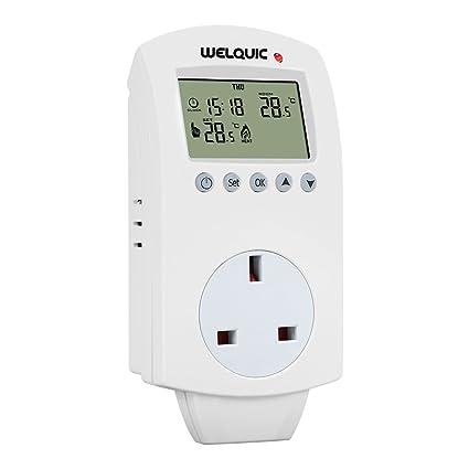 welquic plug-in termostato hy02tp calefacción refrigeración 5 – 2 day programable temperatura controlador con