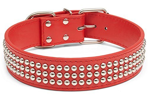 Kid Dog and Co. Triple Row Studded Faux Leather Dog Collar, Adjustable (19