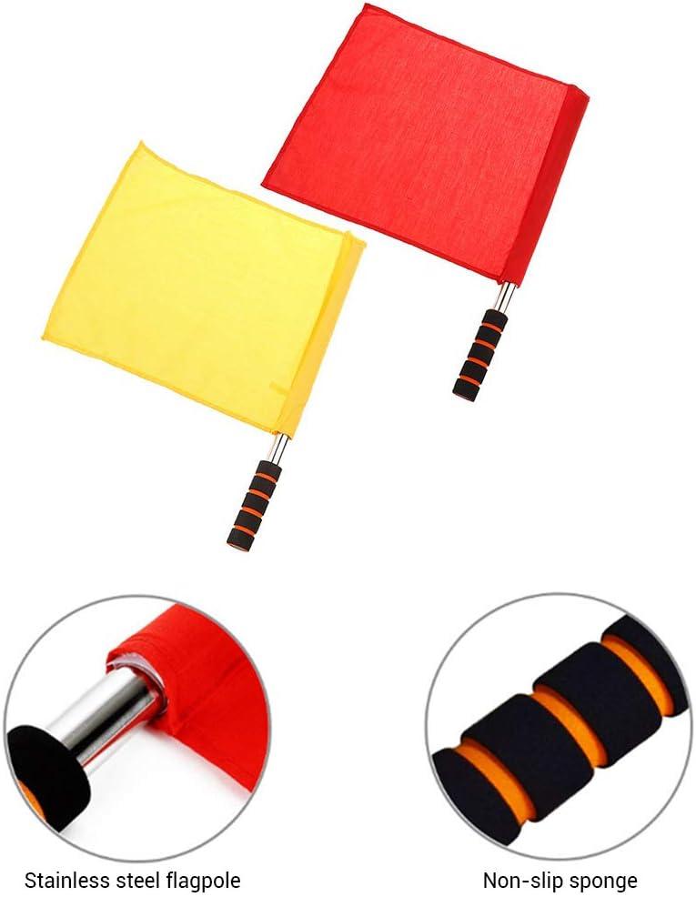 Nargut Linesman Flag /&Warning Flag,2PCS Referee Set Flags Referee Signal Flag for Game and Match Warning Flag