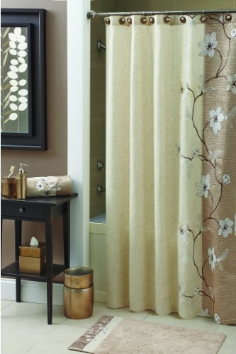 Croscill Magnolia Shower Curtain 70 By 72 Inch Bronze