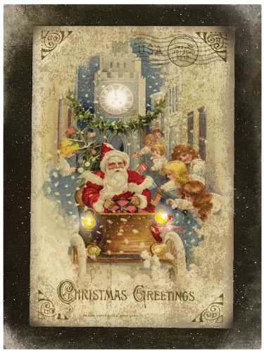 Ohio Wholesale Radiance Lighted Vintage Santa Mobile Canvas Wall Art, from our Christmas Collection - Santa Mobile