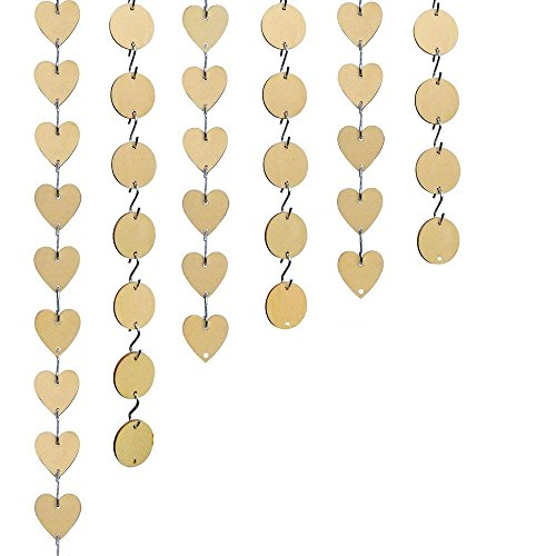Bantoye 240 Pieces Wooden Tags, 60 Pcs Wooden Discs 60 Pcs Wooden Heart Tags with Holes 120 Pcs S Hook Connectors, Great for Artcrafts Ornaments