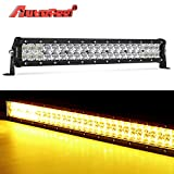 white and amber driving light - LED Light Bar, Autofeel 20 inch 105W Driving Light Emergency Light Fog Light Snow Light Flashing Amber Light Spot Flood Off Road Light with Mounting Bracket for Pickup Truck Jeep ATV UTV SUV Ford