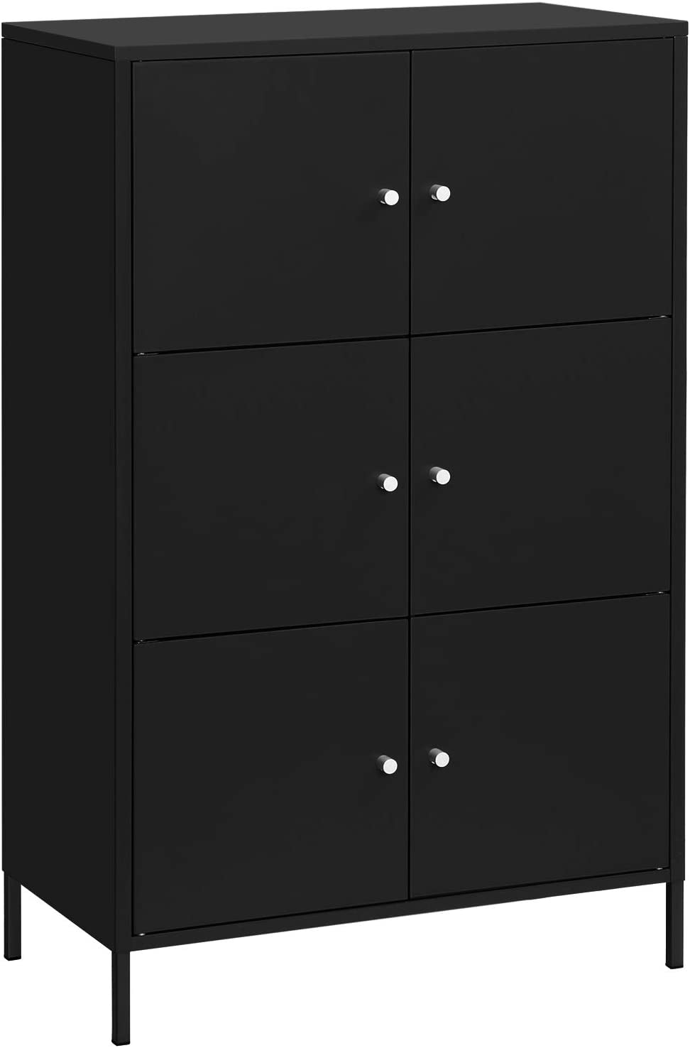 SONGMICS Storage Cabinet, 3-Tier Metal Office Cabinet, Multipurpose Storage Organiser Stand with 6 Doors, 27.5 x 14.2 x 44.2 Inches, Max. Load Capacity 33 lb per Shelf, Black UOMC006B01