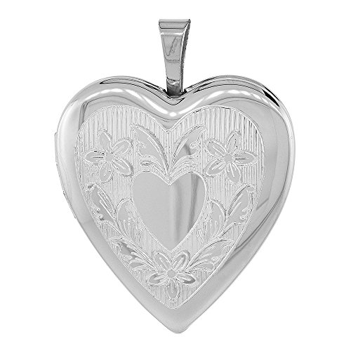 3/4 inch Sterling Silver Heart Locket Necklace for Women Floral Engraving, 18 inch RL_30H