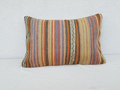 "Faded Kilim Pillow Vintage Kelim Cushion Cover Antique Pillows Sofa Art 16 x 24"""