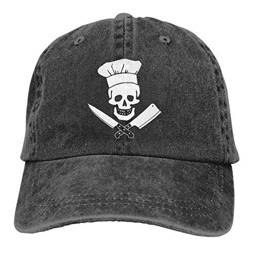 Unisex Skull-Chef Cooking Skull Vintage Jeans Adjustable Baseball Cap Cotton Denim Dad Hat Black -