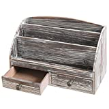 MyGift 3-Compartment Torched Wood Desktop Document & Supply Organizer with 2 Drawers