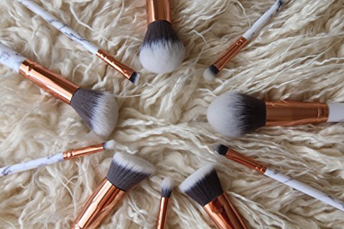 Professional makeup brushes set 10pcs with white marble look makeup brush handle