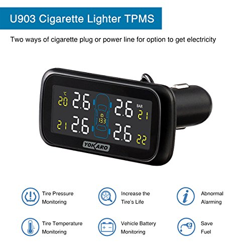 YOKARO Tire Pressure Monitoring System, Hard-wire TPMS with Adjustable Angle Monitor - 4 External Sensors by YOKARO (Image #1)