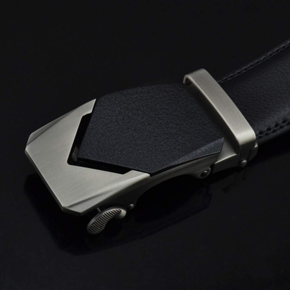DENGDAI Mens Automatic Buckle Leather Belt Belt Length 110-130cm