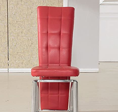 Red 7Star High Back Faux Leather Dining Chairs with Chrome Frame Available in Black Brown Red White