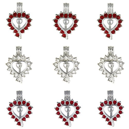 9Pcs Heart Diamond Pearl Bead Cage Pendant Locket for DIY Wish Pearl Love Pearl Necklace - Aromatherapy Essential Oil Diffuser Necklace Jewelry - Oysters Live