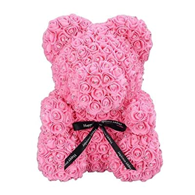 "Pink Rose Bear with Diamonds | Handmade Bear | Perfect for Anniversaries, Birthdays, and Engagements (Pink, 10""): Home & Kitchen"