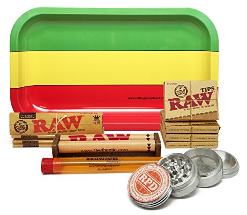 Bundle-12-Items-Raw-King-Size-Cigarette-Rolling-Papers-4-Packs-RAW-Pre-Rolled-Tips-4-Packs-RAW-110mm-Roller-with-Rolling-Paper-Depot-Rolling-Tray-Grinder-and-XL-Doob-Tube