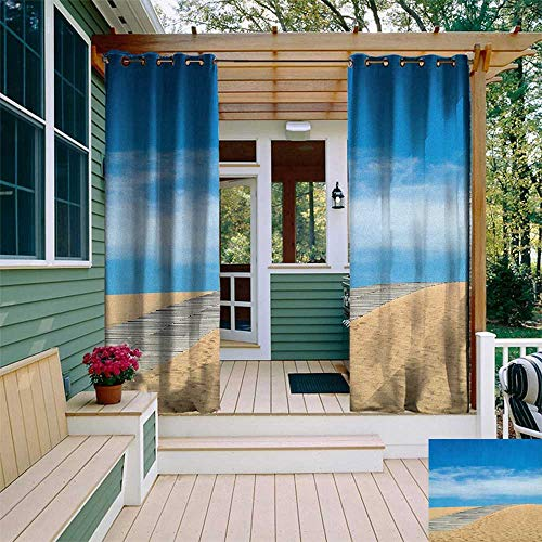 - leinuoyi Beach, Outdoor Curtain Pole, Wooden Path Over a Sand Dune Secret Paradise Beach for Recreation and Clam Photo, Outdoor Curtain Set for Patio Waterproof W96 x L108 Inch Cream Blue