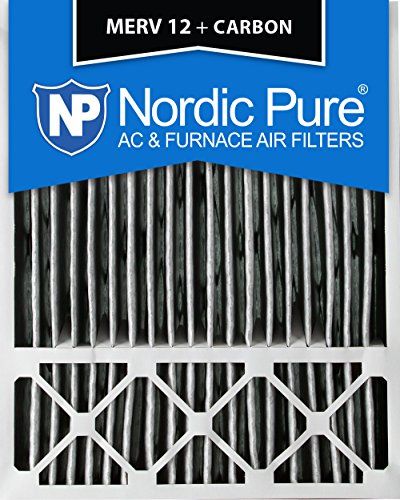 Nordic Pure 20x25x5 (4-3/8 Actual Depth) Honeywell Replacement Pleated MERV 12 Plus Carbon AC Furnace Air Filter, Box of 2