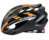 MOON Road and Mountain Bike MTB Helmet with LED Lamp, Light Weight with High Grade EPS and PC ?Orange & Black?