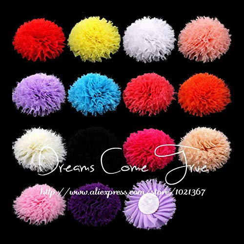 Decorations 200pcs/lot 3.6'' 14Colors Fashion Artificial Chic Frayed Chiffon Flower Hair Accessories for Baby Girls Headbands/Dress/Shoes by Unknown