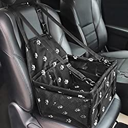 HIPPIH Collapsible Pet Booster Car Seat - 2 Support Bars, Portable Small Dog Cat Car Carrier with Safety Leash and Zipper Storage Pocket (Black with paw Prints)