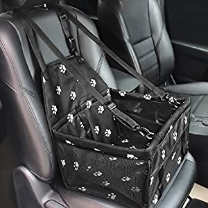 HIPPIH Collapsible Pet Booster Car Seat – 2 Support Bars, Portable Small Dog Cat Car Carrier with Safety Leash and Zipper Storage Pocket (Black with paw Prints)