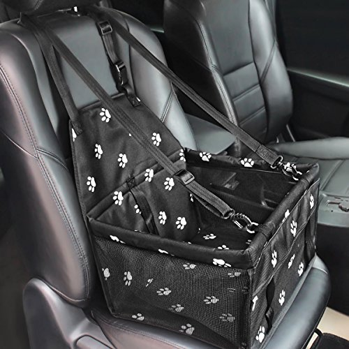 HIPPIH Collapsible Pet Booster Car Seat – 2 Support Bars, Portable Small Dog Cat Car Carrier with Safety Leash and…